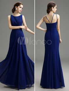 Vintage Royal Blue Beaded Chiffon Evening Dress with Bateau Neck - Get splendid discounts up to 70% Off at Milanoo using Coupon & Promo Codes