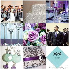 Tiffany blue, charcoal and purple join to create a vibrant spring wedding color palette.