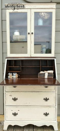 Vintage dresser refinished in Miss Mustard Seed's Milk Paint (Marzipan) by Dusty Boot Designs.  http://www.facebook.com/dustybootdesigns