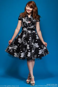 Black Cotton Shirt Dress with White Floral Print
