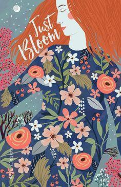 Just Bloom- Mia Charro, simple, floral, nature, lady, illustration, design, lettering, colour