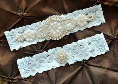 Wedding Garter Belt, Bridal Garter Set - Blue Lace Garter, Keepsake Garter, Toss Garter, Crystal Embellishment Blue, Something Blue Garter on Etsy, $20.00