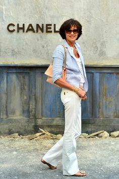 Inès de la Fressange - I like her minimalist style. #newyearstylechallenge