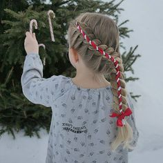 """A candy cane ribbon braid. Pictorials for this and two other Christmas ribbon braids in my blog.  Karkkikeppiletti ja pari muuta jouluista nauhalettiä ohjeineen löytyy blogista   #candycane #candycanebraid #karkkikeppi #nauhaletti #uusipostausblogissa"" Photo taken by @jennishairdays on Instagram, pinned via the InstaPin iOS App! http://www.instapinapp.com (12/22/2015)"