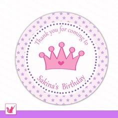 Printable Personalized Cute Purple Star Hot Pink Princess Thank You Tags - Birthday Party