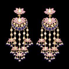 Chandbala style shoulder-dusters by Sunita Shekhawat with pink enamel My fancy chandekiers might work for something like this Indian Jewelry Earrings, Indian Wedding Jewelry, India Jewelry, Bridal Jewelry, Gold Jewelry, Jewelery, Mughal Jewelry, Fancy Jewellery, Diamond Jewelry