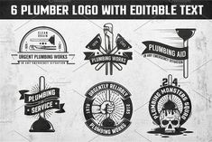 Plumbing retro logos by DreamBikeShop on @creativemarket