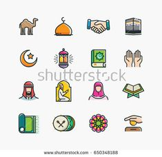 Set of Islamic Icons, Ramadan Kareem, Eid Mubarak Line Art Icons Set Ramadan Activities, Ramadan Crafts, Eid Mubarak Card, Islamic People, Ramadan Kareem Vector, Ramadan Greetings, Mosque Vector, Calligraphy Doodles, Line Art Design
