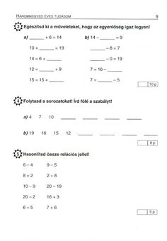 MATEMATIKA FELADATLAPOK 1. OSZTÁLY - tanitoikincseim.lapunk.hu Sheet Music, Math Equations, Album, Education, School, Archive, Children, Tips, Young Children
