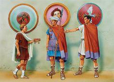 Macedonian Armies: Royal page & Heavy Cavalrymen, c. 325 - 300 BC ~ art by Peter Dennis Wayne Reynolds, Rome, Greek Soldier, Greek Antiquity, Punic Wars, Greek Warrior, Greek Culture, Alexander The Great, Military Art