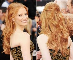 Jessica Chastain Oscar hair was awesome. Not too casual, perfect for her gown.
