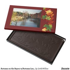Autumn on the Bayou w/Autumn Leaves 2 Pound Dark Chocolate Bar Box