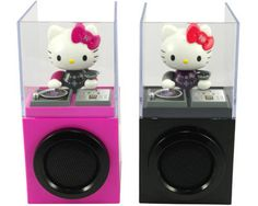 A pair of Hello Kitty DJ Speakers for your Apple iPod. It seems as if the Hello Kitty is being framed within a bullet-proof glass, and busily carrying out her DJing work. The Kitty is much into playing music for you. Along her playing, she will keep bopping her head back and out forth to show you her dedication and actions with the cool music she plays for you. The pair of speakers allow you to hook up your iPod to it. It shows you lots of cute actions of the Kitty.