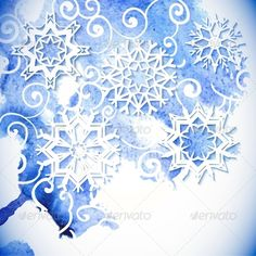 Watercolor Snowflakes Background  - Patterns Decorative