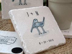 Personalized tile coasters with lovebirds