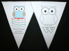 FREE welcome to school owl-themed banner. Have each student color a pennant and suspend back-to-back from the ceiling. Great for a 1st day or open house (meet the teacher) activity.