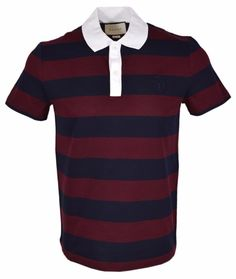 New Gucci Men's 441687 Striped SLIM Fit Hysteria Crest Polo Shirt XL #Gucci #PoloRugby