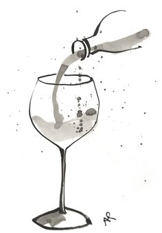 Pouring Wine Art illustration Drawing #BandW #glass