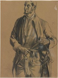 Adolph Menzel 1815-1905 Figure of a Man Unbinding His Sash Black chalk, stumped, heightened with white, on brown wove paper.
