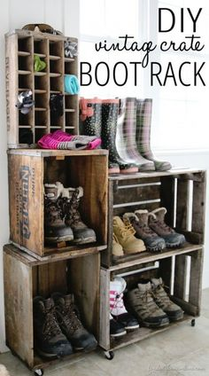 DIY Boot Rack made out of vintage crates.