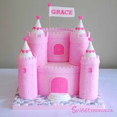 castle birthday cakes for girls   3rd Birthday Cake: Pink Castle Cake