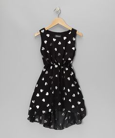 Black & Silver Heart Hi-Low Dress - Girls | Daily deals for moms, babies and kids