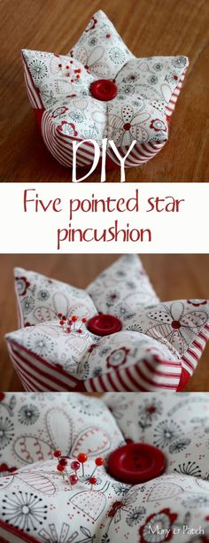 Maryandpatch, 3D patchwork, five pointed star pincushion