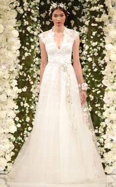 Reem Acra focuses on the florals in this gorgeous gown!