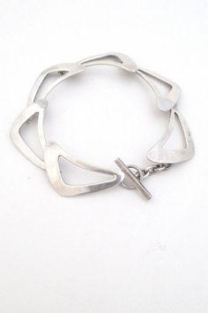 Niels Erik N E From Denmark vintage modernist silver boomerang bracelet