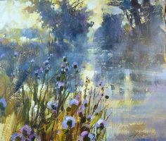 Art Group The Chris Forsey Riverside Sunrise Canvas Print, Cotton, Multi-Colour, x 40 x 50 cm Landscape Artwork, Abstract Landscape Painting, Watercolor Landscape, Watercolor Paintings, Acrylic Art, Art Techniques, Art Oil, Painting Inspiration, Canvas Wall Art