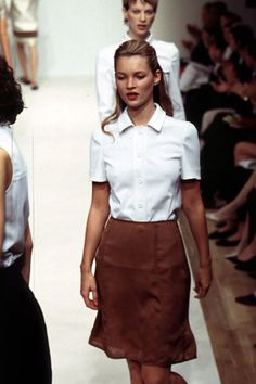 Kate Moss- white blouse and leather skirt