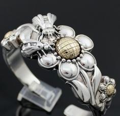 Barry Kieselstein Cord Sterling Silver 14K Gold Hinged Cuff Bee Bracelet 2007