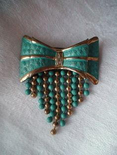 Art Deco Brooch Turquoise Painted  Bow with by vintageheartstrings