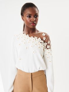 Clover Embroidered Stretch-Crepe Blouse - In the Spotlight - New Arrivals Trendy Outfits, Trendy Fashion, Womens Fashion, New Designer Dresses, Lingerie Party, Blouse Styles, Nice Dresses, Ready To Wear, Fashion Dresses