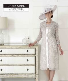 Dressed+Up+By+Veromia+Dress+and+Coat  Beautiful+Mink+Lace+Coat+with+Ivory/+Lace+Matching+Dress  Size:+8-20+