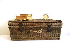 Vintage Wicker Suitcase Luggage Basket Large Wedding Stacking Display Case…
