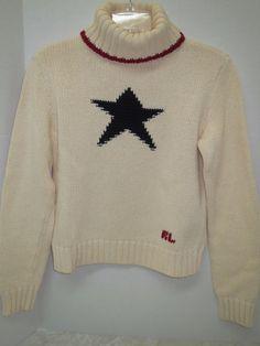 Ralph Lauren 100% Cotton Cream Navy Red Star Sweater Turtleneck sz L Large #RalphLauren #TurtleneckMock