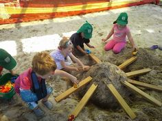 In a really big sand box, children can make big creations and be creative with it. Very interesting to see what they come up with.