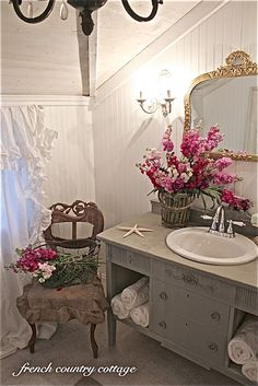 baskets full,elegant chair and mirror