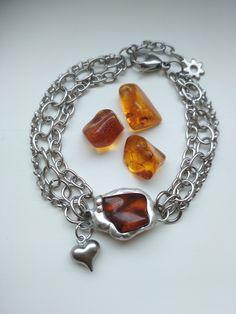 Jantárový náramok z chirurgickej ocele. Chain, Jewelry, Fashion, Moda, Jewlery, Jewerly, Fashion Styles, Necklaces, Schmuck