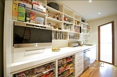 butlers pantry with open shelves