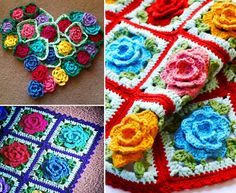 Rose Granny Square Blanket Free Pattern Is Beautiful | The WHOot