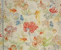 Tropical reef fabric fish seahorse seashell coral pufferfish watercolor from Brick House Fabric: Novelty Fabric
