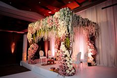 Dusty pink and white floral mandap for Nisha and Emil's wedding