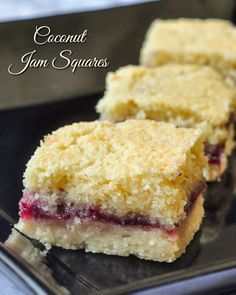 Coconut Jam Squares - a simple but delicious recipe for a freezer-friendly cookie bar! #RockRecipes100Cookies4Christmas