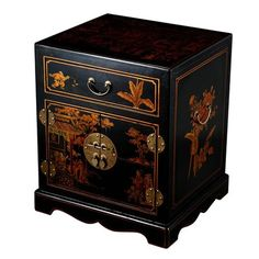 EXP Decor frc5000 Handmade 24-in Antique Style Mandarin End Table / Nightstand This EXP Decor End Table / Nightstand is available in a black leather fin…