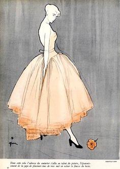 Amazing vintage fashion illustration from genius artist René Gruau Christian Dior Evening Gown. Fashion Illustration Vintage, Illustration Mode, Fashion Illustrations, Vintage Fashion Sketches, Design Illustrations, Fashion Vintage, Arte Fashion, Fashion Models, Fashion Design