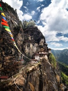 The fabled Taktshang Goemba, or Tiger's Nest monastery. Tigers still prowl the surrounding mountains- Butan.