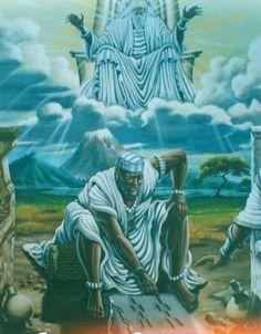 """DA SÉRIE CULTOS E MITOS AFRICANOS ORÍXÁS - IFÁ -  Aqui representado por seu sacerdote, o Babalaô.  """"Ifá - O mensageiro dos 'deuses'. O oráculo dos Orixás. O advinhador. (W.W. da Mata e Silva) Da pasta Tradições, Mitologias, Ícones, Holismo."""