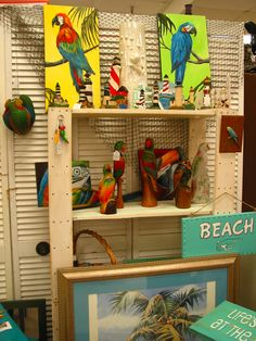new items in booth this week, parrots, lighthouses, great prices. Treasure Trove, Hudson, Fl.